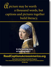 captions and pictures together build literacy poster